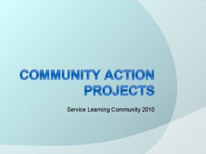 COMMUNITY ACTION PROJECTS Service Learning Community 2010 What