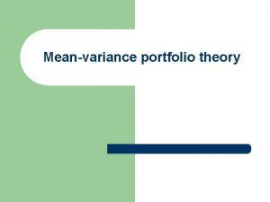 Meanvariance portfolio theory Expected portfolio return with ex