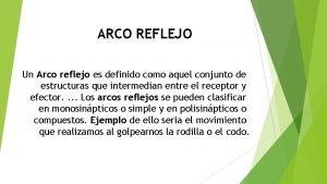 ARCO REFLEJO Un Arco reflejo es definido como