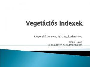 Vegetcis indexek Kiegszt tananyag QGIS gyakorlatokhoz Ben Dvid