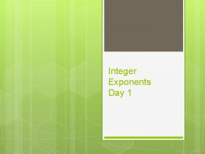 Integer Exponents Day 1 Definitions EXPONENT BASE Base