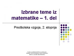 Izbrane teme iz matematike 1 del Predolska vzgoja