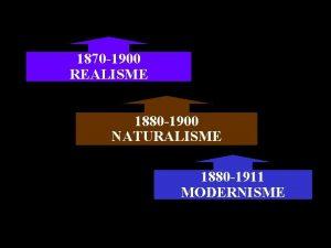 1870 1900 REALISME 1880 1900 NATURALISME 1880 1911