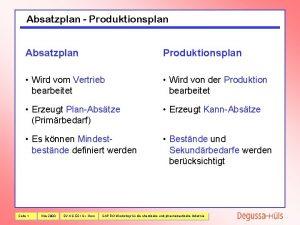 Absatzplan Produktionsplan Absatzplan Produktionsplan Wird vom Vertrieb bearbeitet