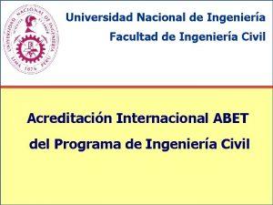 Universidad Nacional de Ingeniera Facultad de Ingeniera Civil