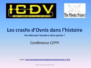Les crashs dOvnis dans lhistoire Des lments factuels