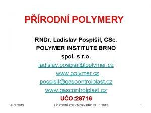 PRODN POLYMERY RNDr Ladislav Pospil CSc POLYMER INSTITUTE