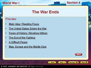 Section 4 World War I The War Ends