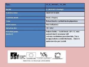 slo VY32 INOVACE TEC490 Ronk 2 Cukrsk technologie
