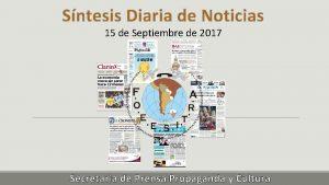 Sntesis Diaria de Noticias 15 de Septiembre de