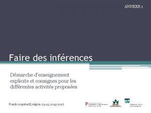 ANNEXE 1 Faire des infrences Dmarche denseignement explicite