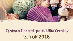 Zprva o innosti spolku Ulita ernilov za rok