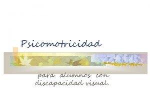 Psicomotricidad para alumnos con discapacidad visual Introduccin El