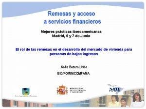 Remesas y acceso a servicios financieros Mejores prcticas
