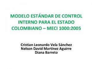 MODELO ESTNDAR DE CONTROL INTERNO PARA EL ESTADO