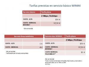 Tarifas previstas en servicio bsico WIMAX Servicio bsico