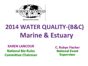2014 WATER QUALITYBC Marine Estuary KAREN LANCOUR National