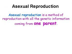 Asexual Reproduction Asexual reproduction is a method of