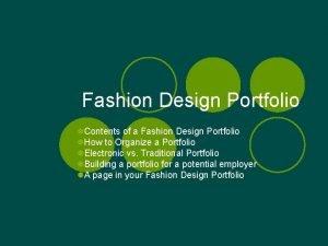 Fashion Design Portfolio l Contents of a Fashion
