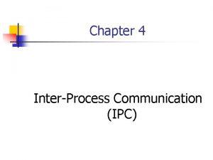 Chapter 4 InterProcess Communication IPC On The Same