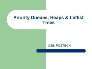 Priority Queues Heaps Leftist Trees CSE POSTECH Priority