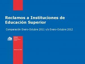 Reclamos a Instituciones de Educacin Superior Comparacin EneroOctubre