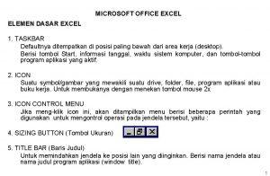 MICROSOFT OFFICE EXCEL ELEMEN DASAR EXCEL 1 TASKBAR