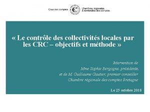 Le contrle des collectivits locales par les CRC