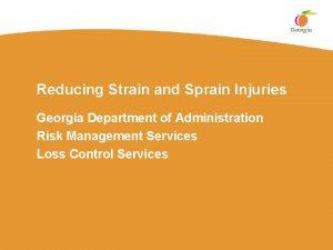 Reducing Strain and Sprain Injuries Georgia Department of