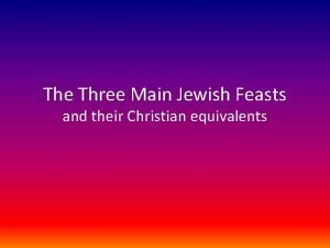 The Three Main Jewish Feasts and their Christian