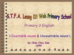Primary 3 English Countable nouns Uncountable nouns by