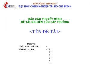 B CNG THNG I HC CNG NGHIP TP