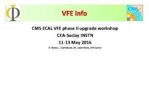 VFE info CMS ECAL VFE phase II upgrade