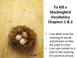 To Kill a Mockingbird Vocabulary Chapters 1 2