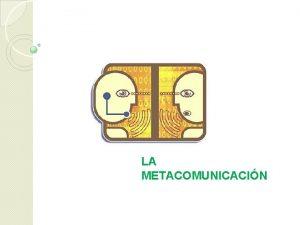 LA METACOMUNICACIN La metacomunicacin es comunicacin que habla