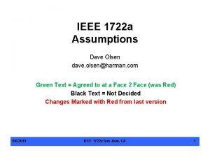 IEEE 1722 a Assumptions Dave Olsen dave olsenharman