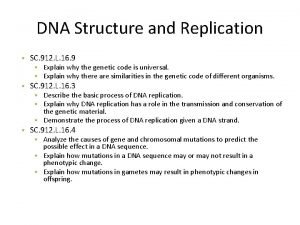 DNA Structure and Replication SC 912 L 16