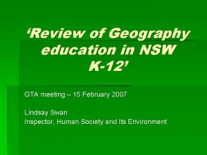 Review of Geography education in NSW K12 GTA