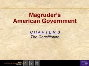 Magruders American Government CHAPTER 3 The Constitution Go