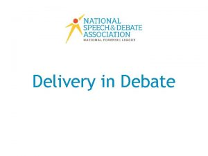 Delivery in Debate Rate of Delivery Filler words