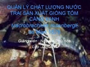 QUN L CHT LNG NC TRI SN XUT
