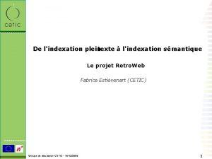 De lindexation plein texte lindexation smantique Le projet