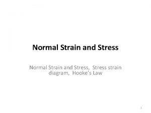 Normal Strain and Stress Stress strain diagram Hookes