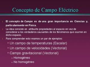 Concepto de Campo Elctrico l El concepto de