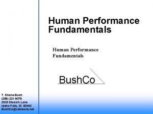 Human Performance Fundamentals Bush Co T Shane Bush