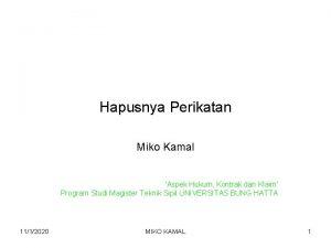 Hapusnya Perikatan Miko Kamal Aspek Hukum Kontrak dan