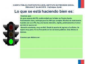CUENTA PBLICA PARTICIPATIVA 2015 L INSTITUTO DE PREVISION