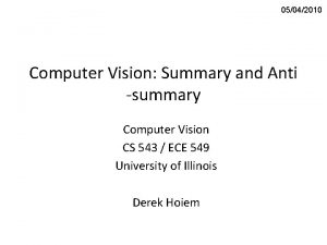 05042010 Computer Vision Summary and Anti summary Computer