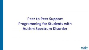 Peer to Peer Support Programming for Students with