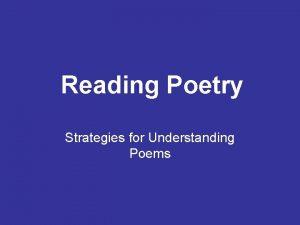 Reading Poetry Strategies for Understanding Poems 1 Identify
